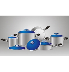 Set of chrome-plated pans vector