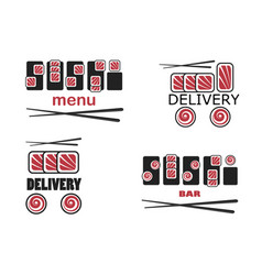 set of sushi template vector image