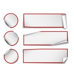 Set of white rectangular and round paper stickers vector