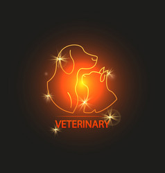shine veterinary logo design with cat and dog vector image