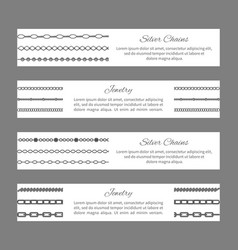 silver chains jewelry cards vector image