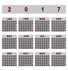 Simple demo 2017 calendar template vector image