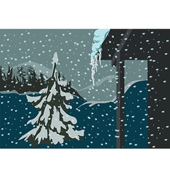 Spruce and snow vector