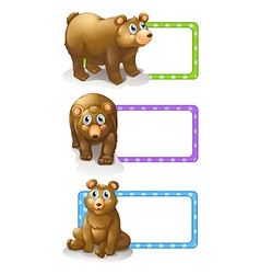 Square labels with grizzly bears vector
