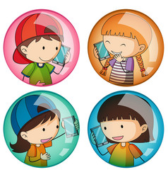 sticker template with kids on the phone vector image