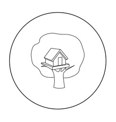 Tree house icon in outline style isolated on white vector