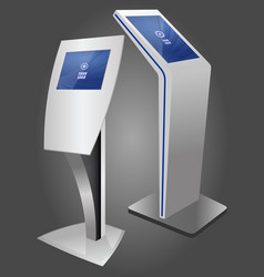 two promotional interactive information kiosk vector image