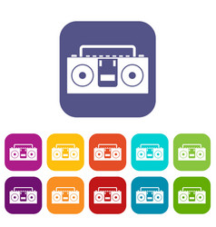 Vintage tape recorder icons set flat vector