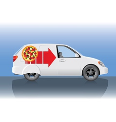 White pizza delivery car vector image