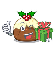 With gift fruit cake character cartoon vector