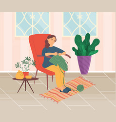 Woman sitting in armchair and knitting favorite vector