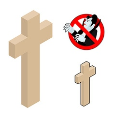 Wood cross crucifix against vampires Ban Dracula vector