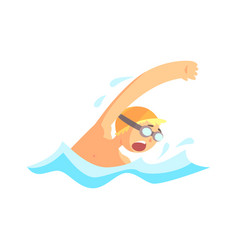 Young man with goggles swimming in the pool vector