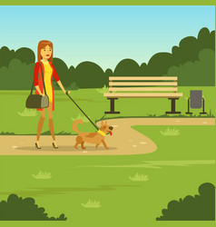 young woman walking with her dog in park flat vector image