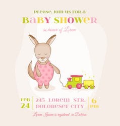 baby girl kangaroo with a train - baby shower card vector image vector image