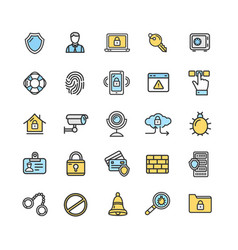 data security and safe icon color thin line set vector image vector image