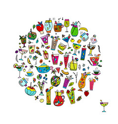 drinks collection sketch for your design vector image vector image