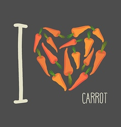 I love carrots Heart of Orange carrots vector image vector image