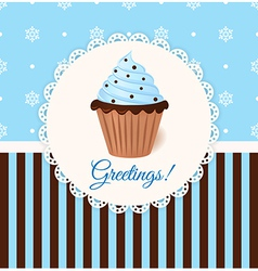 Vintage greetings card with cream cake vector image vector image