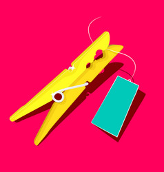 gold or yellow peg with empty blue label on pink vector image