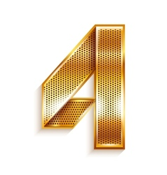 Number metal gold ribbon - 4 - four vector