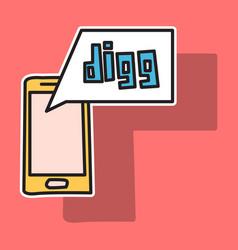 Sticker unusual look web icon of modern social vector