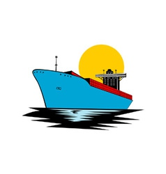 Container Ship Cargo Boat Retro vector image