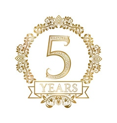 Five years anniversary celebration golden vintage vector image