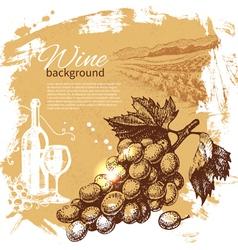 Hand drawn wine vintage background vector image