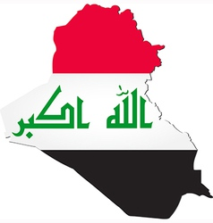Map of iraq with national flag vector