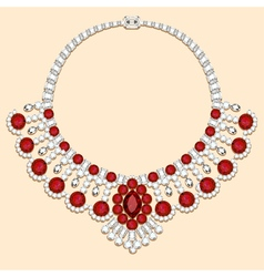 necklace female with red vector image vector image