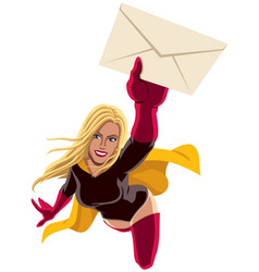 superheroine flying envelope vector image