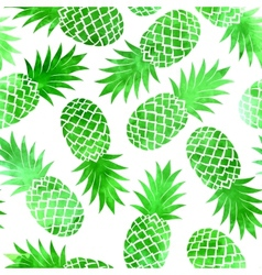 Vintage green watercolor pineapple seamless vector image vector image