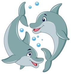 Cute dolphin couple cartoon vector image vector image