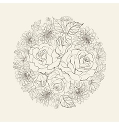 Hand drawn bouquet of roses vector image