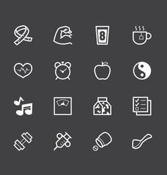 healthy element white icon set 1 on black backgrou vector image vector image