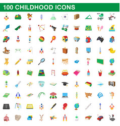 100 childhood icons set cartoon style vector