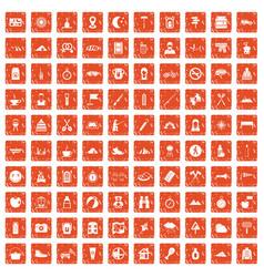 100 family camping icons set grunge orange vector
