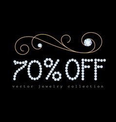 70 off banner with diamond jewelry letters vector