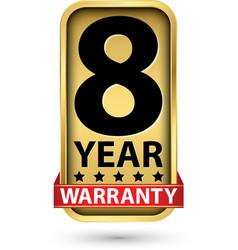 8 year warranty golden label vector