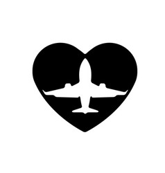 aircraft in heart icon a symbol of love vector image