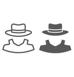anonymity line and glyph icon detective vector image