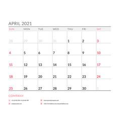 april 2021 monthly calendar planner printable vector image