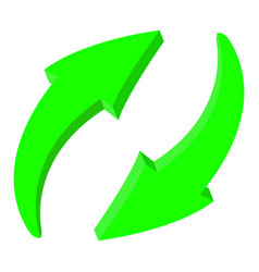 arrows green recycle 3d icons vector image