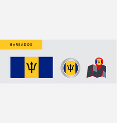 Barbados flag is horizontally isolated vector