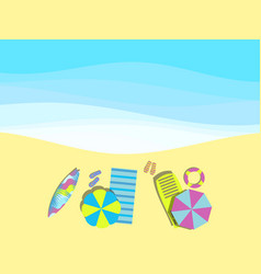 beach seashore with waves chaise lounge with vector image