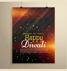 beautiful happy diwali flyer template with vector image