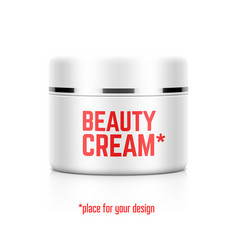 Beauty cream jar template with place for your vector