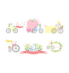 bicycles floral elements and balloons elegant vector image