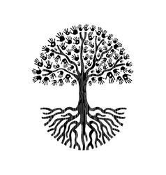 black and white hand tree isolated vector image